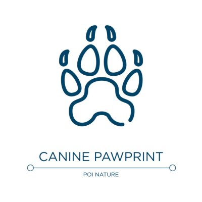 Wall mural Canine pawprint icon. Linear vector illustration from free animals collection. Outline canine pawprint icon vector. Thin line symbol for use on web and mobile apps, logo, print media.