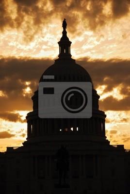 Capitol Hill Building dome silhouette, Washington DC