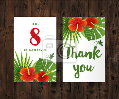 cards with tropical leaves and flowers