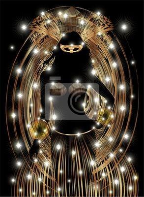 Carnevale Ragazza Maschera Oro-Golden Girl Carnival Mask