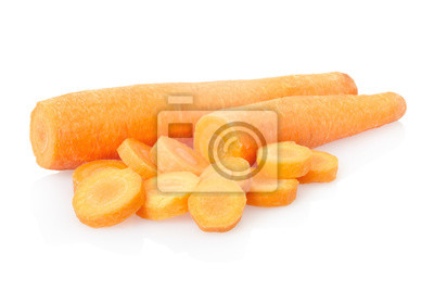 Wall mural Carrot sliced on white, clipping path included
