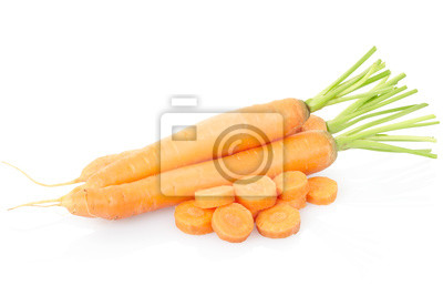 Wall mural Carrots sliced on white, clipping path included