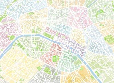 Wall mural Cartina Parigi, disegnata a mano, pennellate, strade e vie, Francia