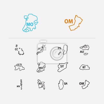 Wall mural Cartography icons set. Bangladesh and cartography icons with macau, qatar and bhutan. Set of geographical for web app logo UI design.
