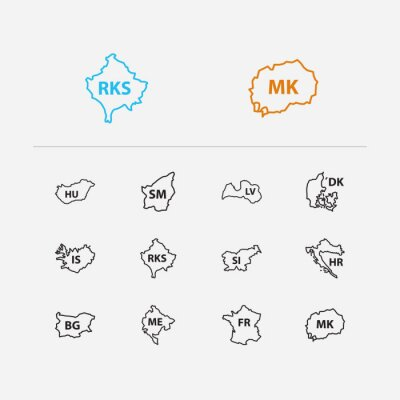 Wall mural Cartography icons set. France and cartography icons with croatia, denmark and san marino. Set of of for web app logo UI design.