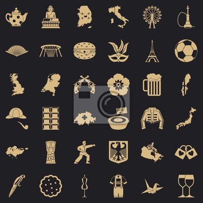 Wall mural Cartography icons set. Simple set of 36 cartography vector icons for web for any design