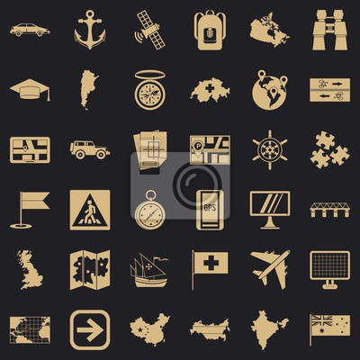 Wall mural Cartography icons set. Simple style of 36 cartography vector icons for web for any design