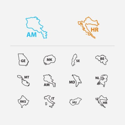 Wall mural Cartography icons set. Sweden and cartography icons with north macedonia, armenia and kosovo. Set of of for web app logo UI design.