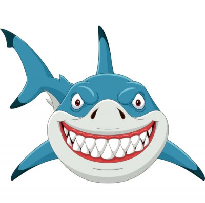 Wall mural Cartoon angry shark isolated on white background