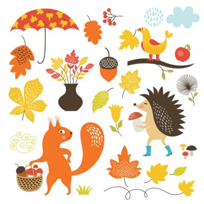Wall mural Cartoon animals and autumnal elements, vector set
