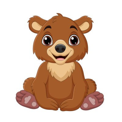 Cartoon baby brown bear sitting