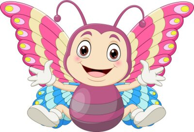 Cartoon baby butterfly sitting and waving