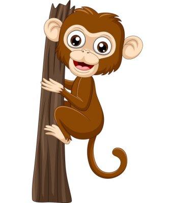 Cartoon baby monkey climbing tree branch