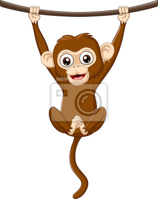 Cartoon baby monkey hanging on a wood branch
