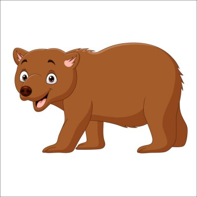 Cartoon brown bear walking isolated on white background