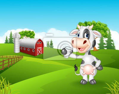 Cartoon cow holding glass in the farm