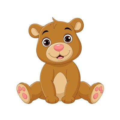 Cartoon cute baby bear sitting
