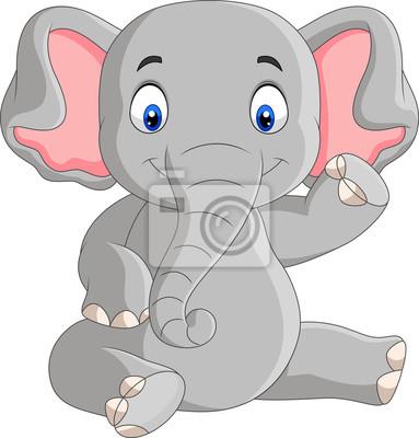 Wall mural Cartoon cute baby elephant sitting