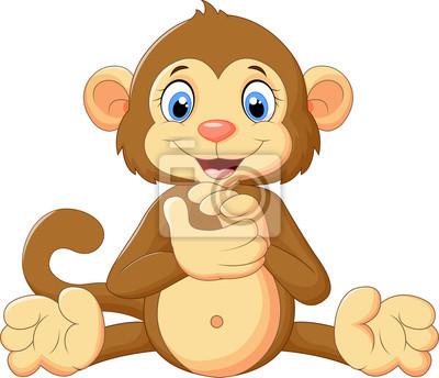 Cartoon cute monkey clapping his hands