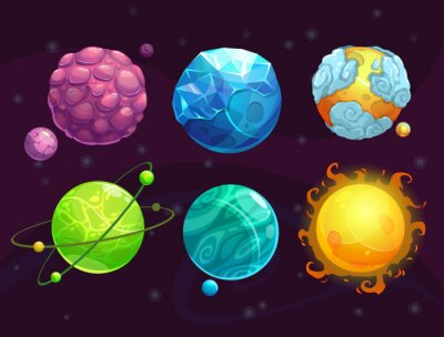 Wall mural Cartoon fantasy alien planets set