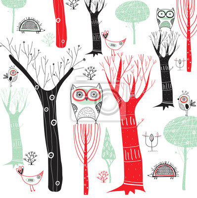 Cartoon forest with the owls and other birds
