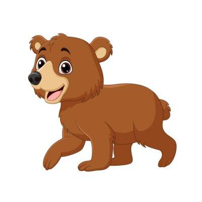 Cartoon funny baby bear walking