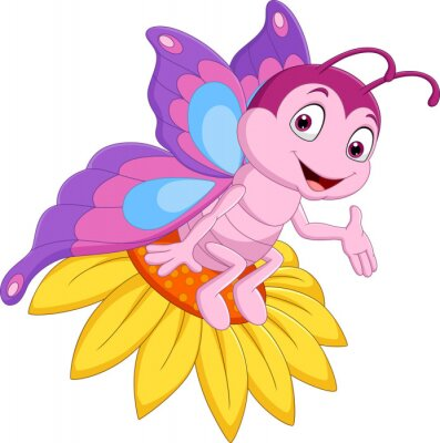 Cartoon funny butterfly sitting on the flower