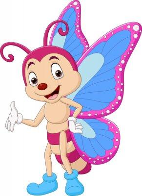 Cartoon funny butterfly waving hand