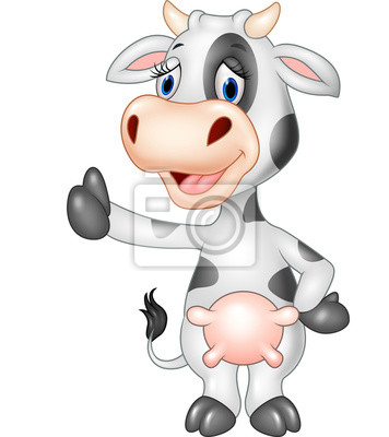 Cartoon funny cow giving thumb up isolated on transparent background