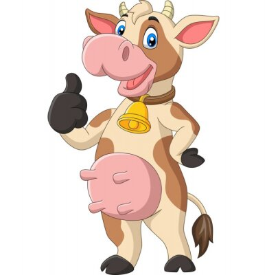 Cartoon funny cow giving thumb up isolated on white background