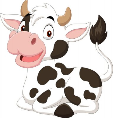 Cartoon funny cow sitting on white background