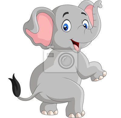 Wall mural Cartoon funny elephant isolated on white background