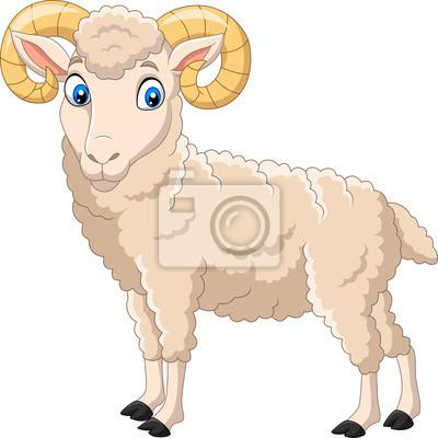 Cartoon funny goat isolated on white background