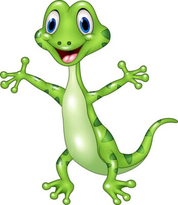 Wall mural Cartoon funny green lizard posing isolated on white background