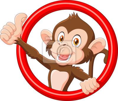 Cartoon funny monkey giving thumb up