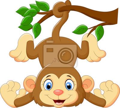 Cartoon funny monkey on a tree