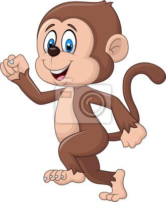 Cartoon funny monkey running isolated on white background