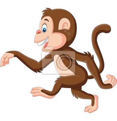 Cartoon funny monkey walking on white background
