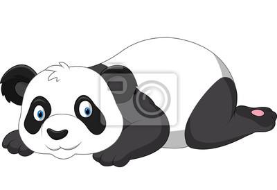Cartoon funny panda lying down