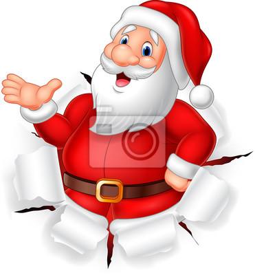Cartoon funny Santa claus presenting