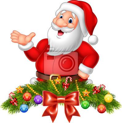 Cartoon funny santa claus waving hand with Christmas decoration