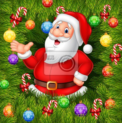 Cartoon funny Santa Clause presenting with Christmas decoration