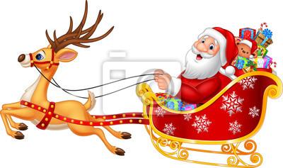 Cartoon funny Santa in his Christmas sled being pulled by reindeer