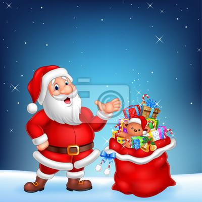 Cartoon funny Santa with sack on a night sky background