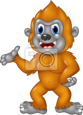 Cartoon Funny Sasquatch waving hand isolated on white background