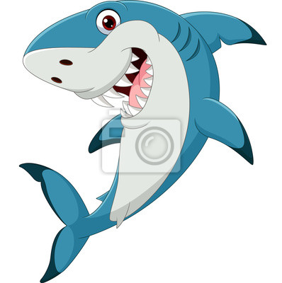 Wall mural Cartoon funny shark isolated on white background