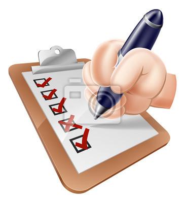 Cartoon hand completing survey