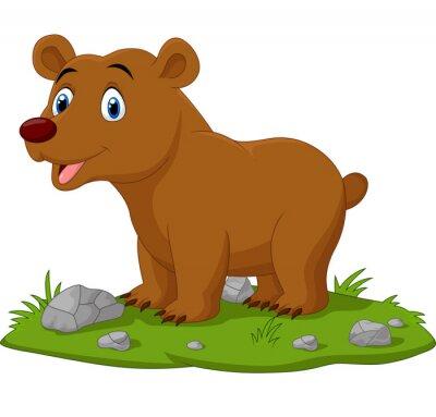 Cartoon happy baby bear in the grass