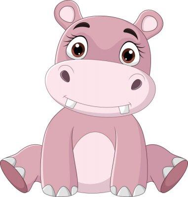 Cartoon happy baby hippo sitting