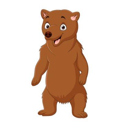 Cartoon happy brown bear standing